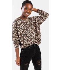tamiia leopard sweatshirt - brown