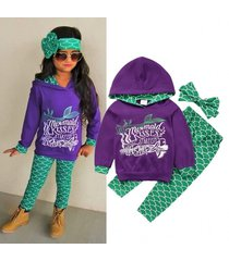 3pcs/ mermaid kisses hoodie+ pants+ ribbon headgear outfit for toddlers 1-6y