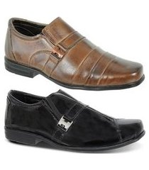 kit 2 pares de sapato social infantil couro legítimo leoppé
