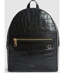 reiss ethan - leather croc embossed backpack in black, mens