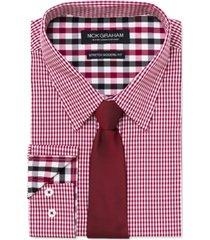 nick graham men's slim-fit stretch easy-care mini gingham dress shirt & navy ground pin dot tie set