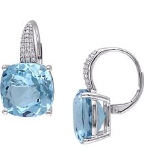 !4k white gold, blue topaz & diamond earrings