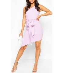 petite one shoulder asymmetric bodycon dress, lilac
