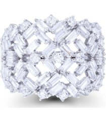 cubic zirconia round and baguette cut scattered dome ring