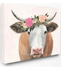 """stupell industries home decor collection springtime flower crown farm cow with horns canvas wall art 16"""" l x 1.5"""" w x 20"""" h"""