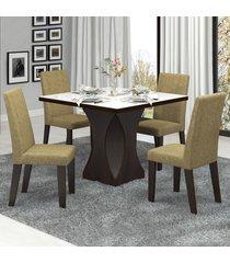 mesa de jantar 4 lugares frevo com vidro branco 11554 ameixa/neve - mobilarte móveis