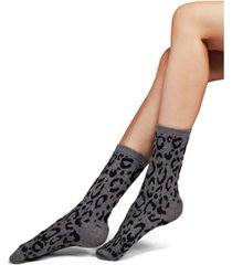 natori women's animal print cashmere blend crew socks, 2 pack