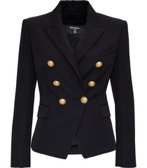 balmain double-breasted black viscose blazer