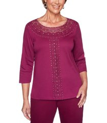 alfred dunner petite autumn harvest crochet-trim top