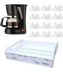 kit 1 cafeteira mondial 110v, 12 xícaras 240ml com pires e 1 bandeja mdf branca
