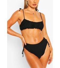 frill detail bandeau high waist bikini, black