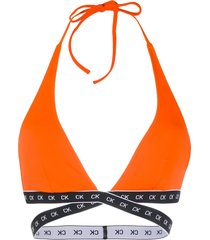 calvin klein jeans logo band bikini top - orange