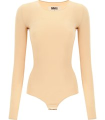 mm6 maison margiela jersey bodysuit with logo