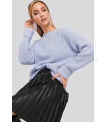 na-kd trend folded sleeve chunky sweater - blue