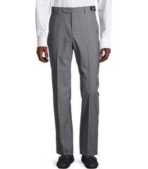 saks fifth avenue men's standard-fit micro check wool pants - grey - size 38