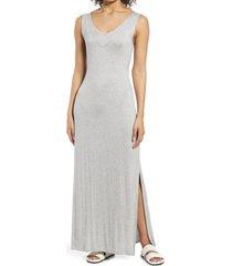 women's bobeau sleeveless v-neck maxi dress, size xx-large - grey