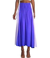 side-tie silk midi skirt