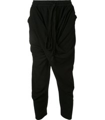 julius ruched style cropped track pants - black