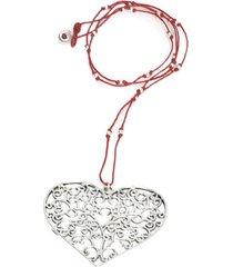 collar de mujer plateado rojo cuore arabesque love vestopazzo