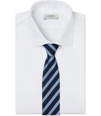 cravatta su misura, lanieri, regimental seta blu azzurra, quattro stagioni | lanieri