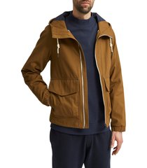 men's selected homme baker hooded utility jacket, size small - brown
