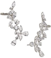adriana orsini women's rhodium-plated & crystal drop earrings