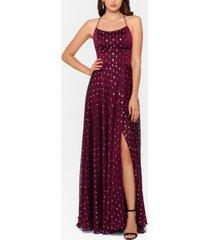 betsy & adam metallic-print chiffon gown