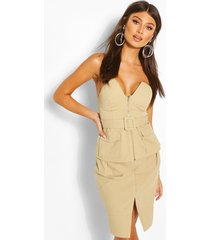 buckle detail strapless top, stone