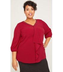 black label drape-front blouse