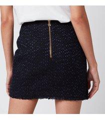 balmain women's asymmetric 4 button tweed wrap skirt - blue - fr 40/uk12