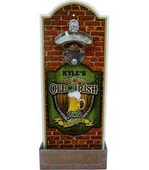 abridor de garrafa de madeira irish