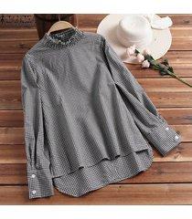 zanzea más el tamaño de las mujeres a cuadros informal camisa a cuadros de gran tamaño tops dobladillo irregular de la blusa plus -negro