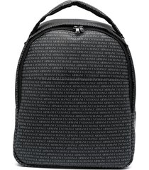 armani exchange logo-print zip-up backpack - black