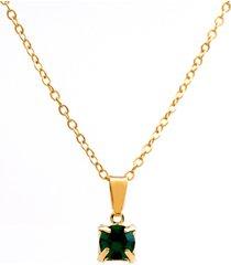 gargantilha horus import ponto luz banhado ouro amarelo 18 k - 1060158 - verde esmeralda - kanui