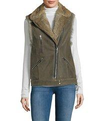 rabbit fur-trim leather vest