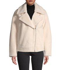 asymmetrical zip-front wool jacket