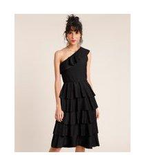 vestido feminino mindset curto um ombro só canelado em camadas sem manga preto
