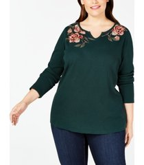 style & co plus size embroidered thermal top, created for macy's