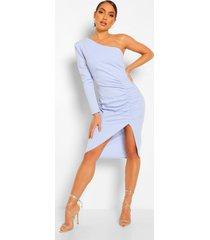 mini jurk met eén blote schouder en ruche, blauw