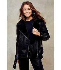 black pu biker jacket - black