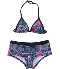 brunotti gekleurde triangle bikini pop pink