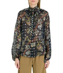 chloé georgette shirt woth embroideries and print