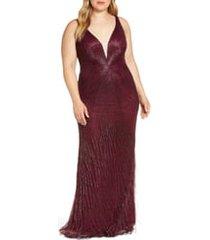 plus size women's mac duggal bead stripe and fringe column gown, size 22w - purple