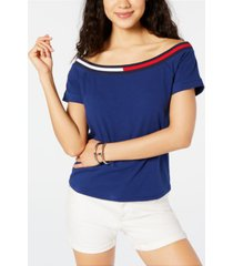 tommy hilfiger sport off-the-shoulder top, created for macy's