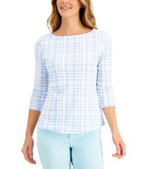 charter club cotton plaid-print top, created for macy's