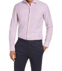 men's boss jason slim fit dress shirt, size 16 - pink