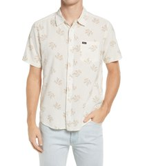 rvca prairie floral regular fit short sleeve button-up shirt, size xx-large in natural at nordstrom