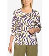 plus size easy living casual zebra print top