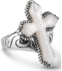 american west white mother of pearl carved cross ring in sterling silver