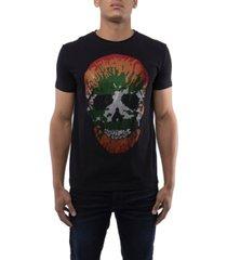 men's splatter skull rhinestone short sleeve t-shirt